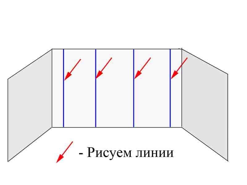 Чертим вертикальные линии по уровню в местах будущих маяков.