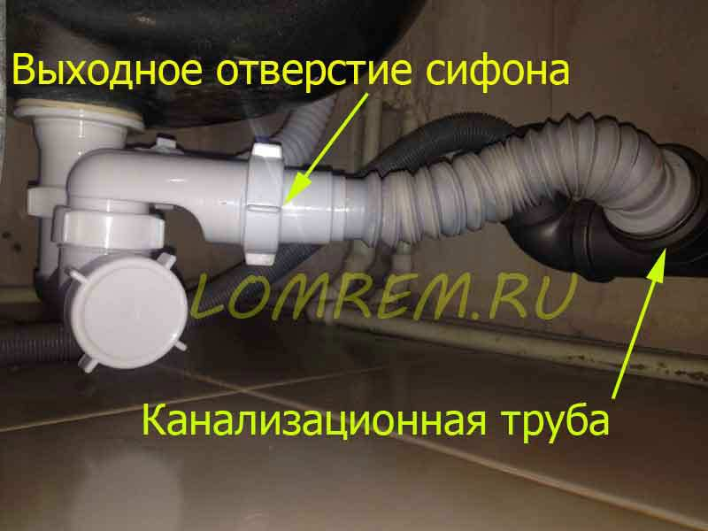 Сливной сифон и канализационная труба.
