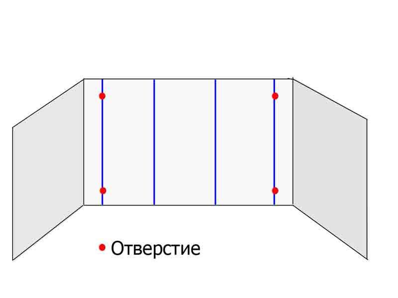 Сверлим отверстия под шурупы по крайним вертикальным линиям сверху и снизу